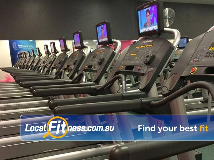 Fernwood Fitness Gym Epping  | Rows of state of the art cardio available.