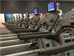 Rows of state of the art cardio available.