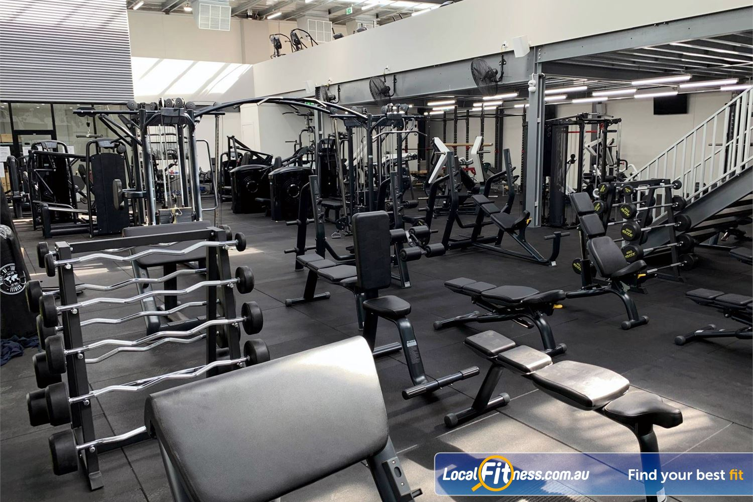 Weight of the World Fitness Altona North The fully equipped free-weights area with dumbbells, barbells and more.