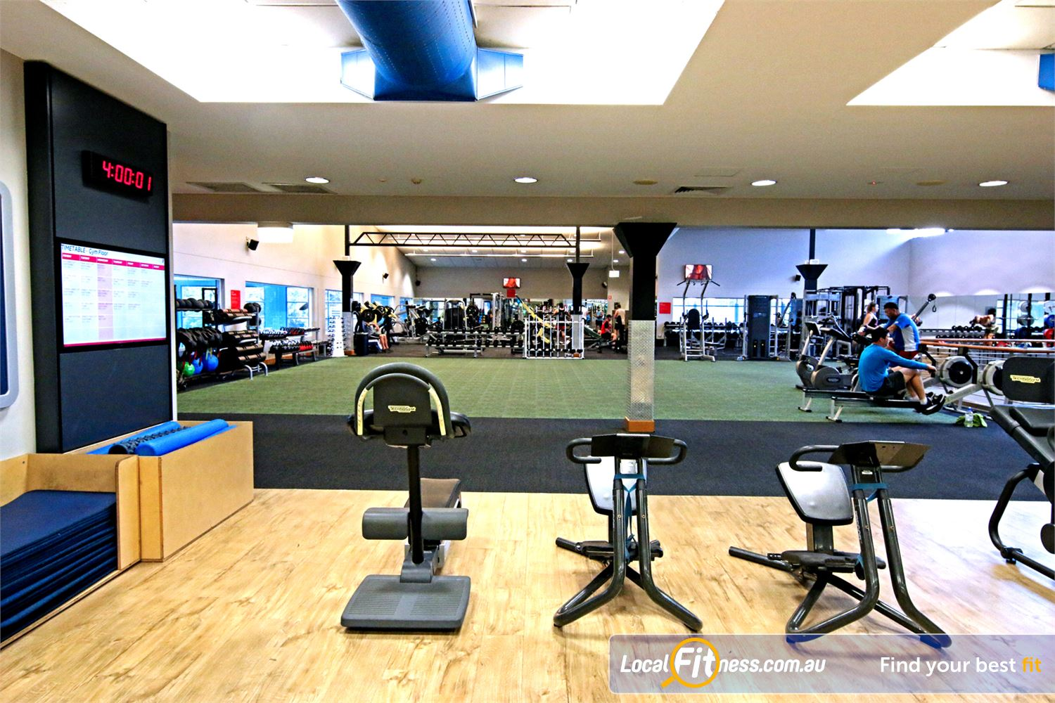 Fitness First Near Gumdale Dedicated abs and stretching area.
