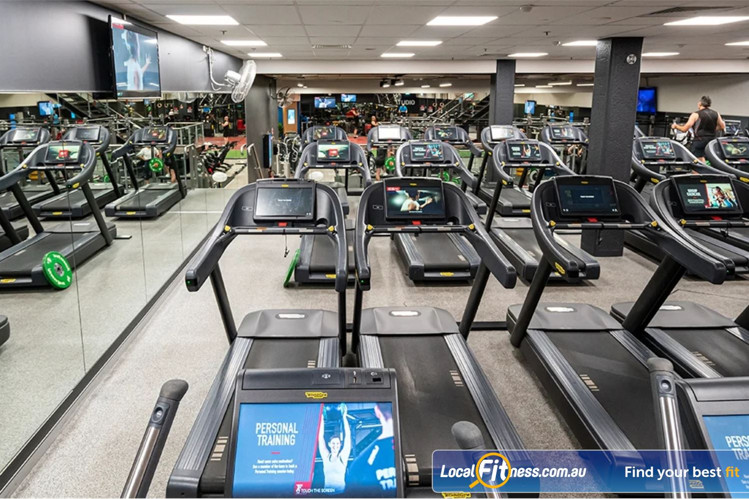 Fitness First Platinum George St. Sydney The fully equipped cardio area at Fitness First Platinum Sydney gym.