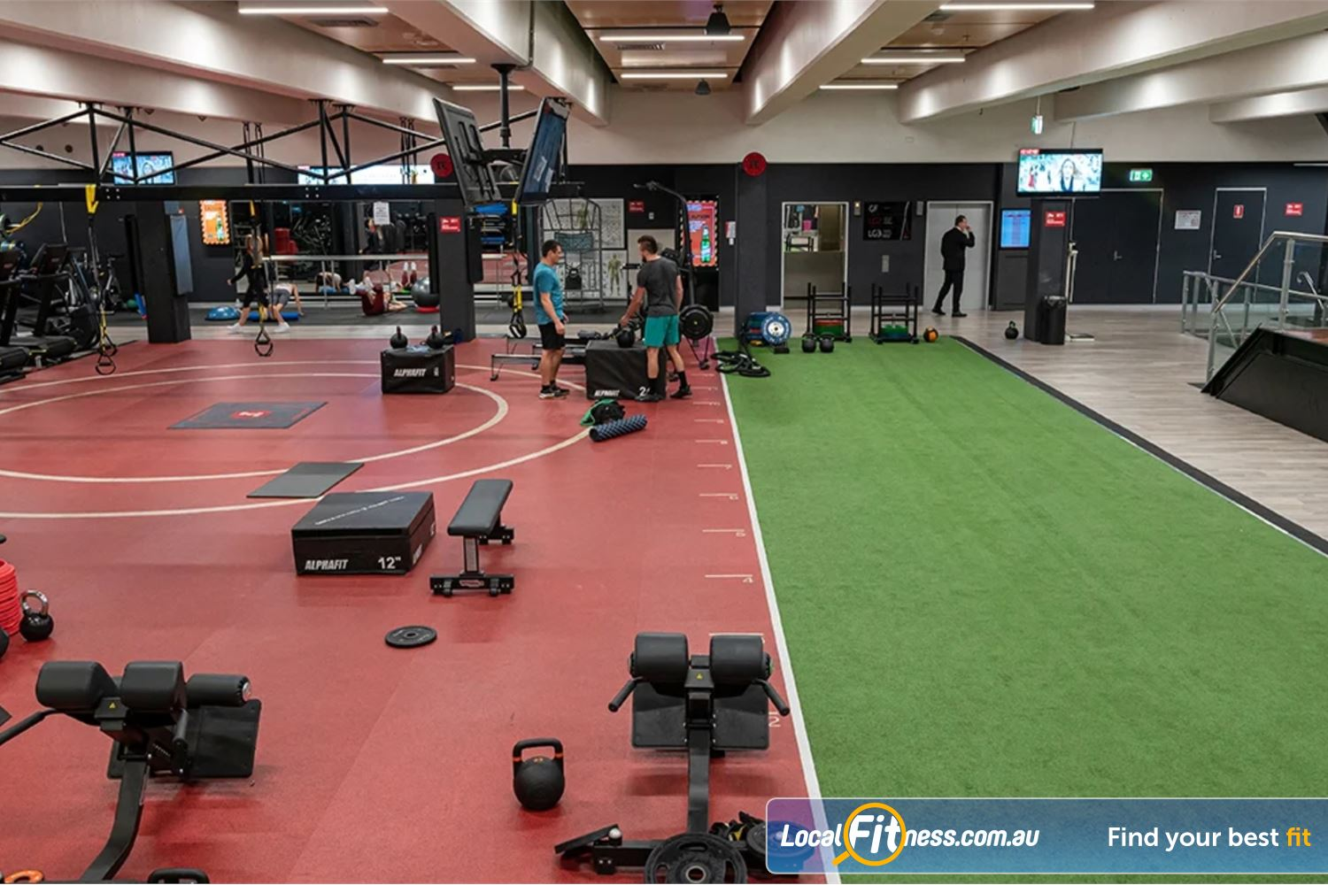 Fitness First Platinum George St. Sydney The Sydney freestyle area with TRX frame, indoor sled track and more.
