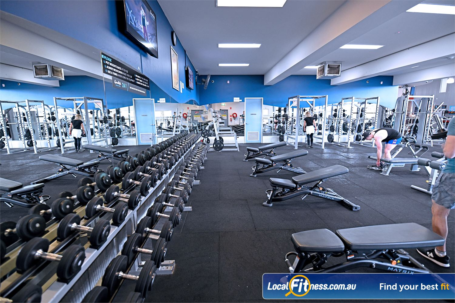 Goodlife Health Clubs Geelong Fully equipped free-weights area in our Geelong gym.
