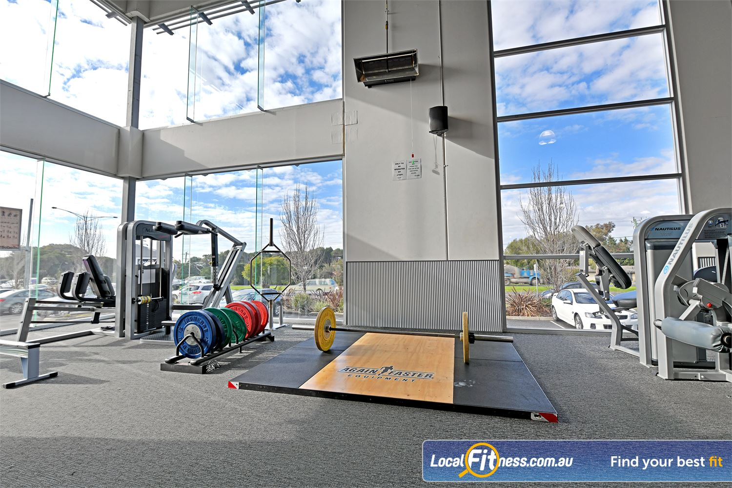 Goodlife Health Clubs Near South Geelong High-performance Olympic lifting platforms in our functional training area.