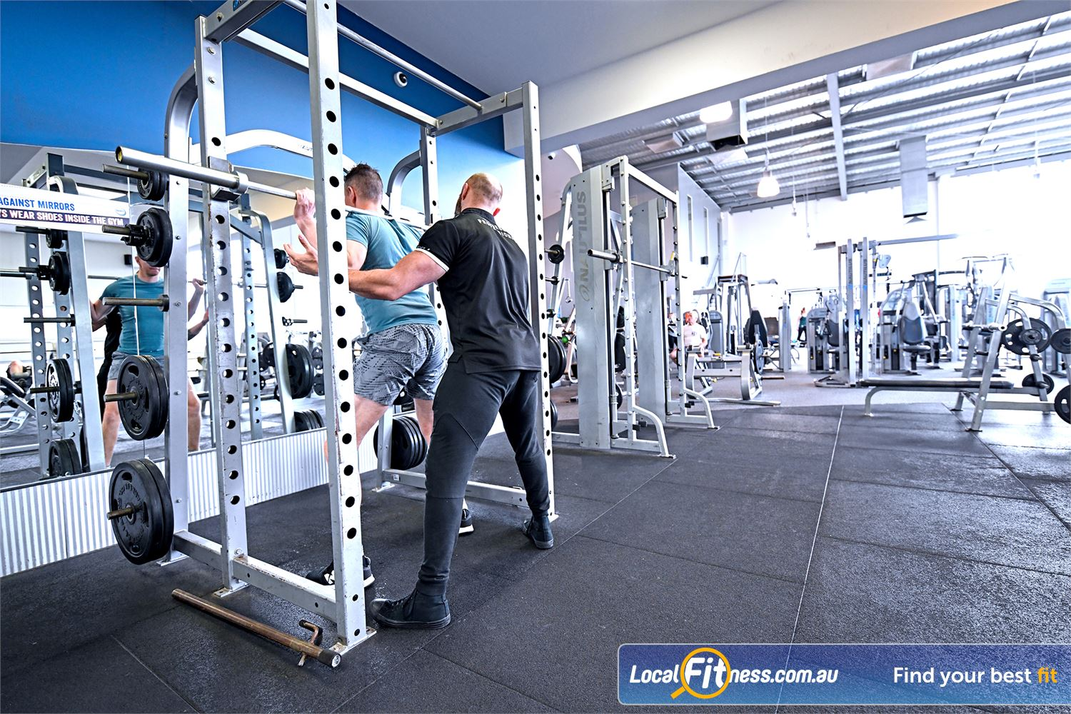 Goodlife Health Clubs Geelong Our free-weights area includes multiple lifting racks.