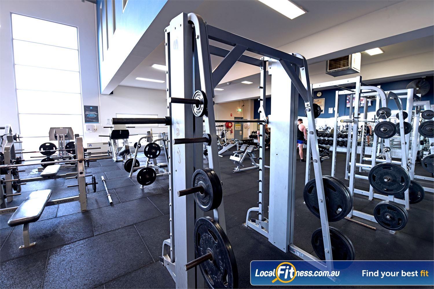 Goodlife Health Clubs Near South Geelong Our free-weights area includes a smith machine.