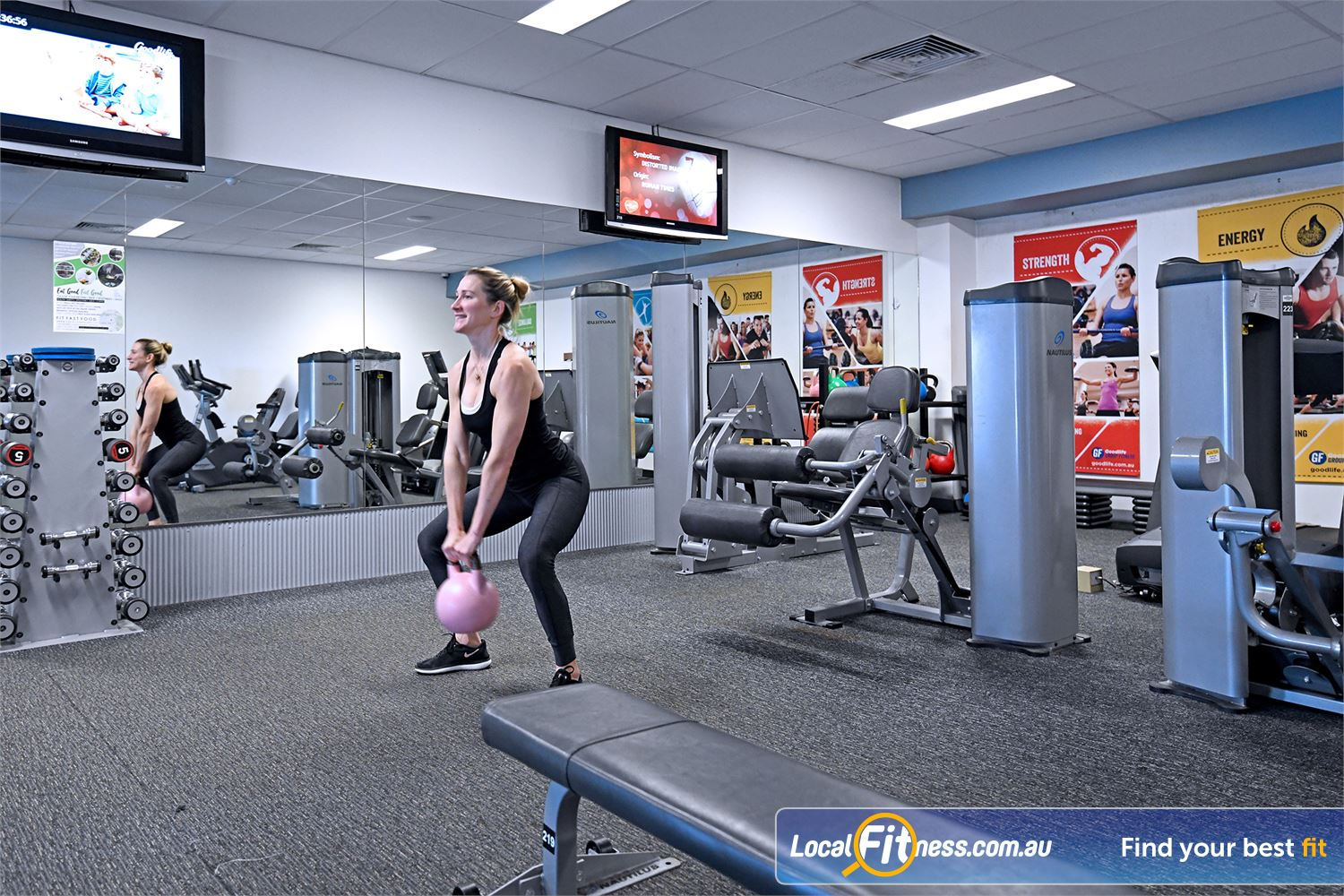 Goodlife Health Clubs Near Newtown Fully equipped for strength in our Geelong women's only gym area.