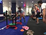 F45 Newtown St Peters Gym Fitness Prowler Sleds and circuit work