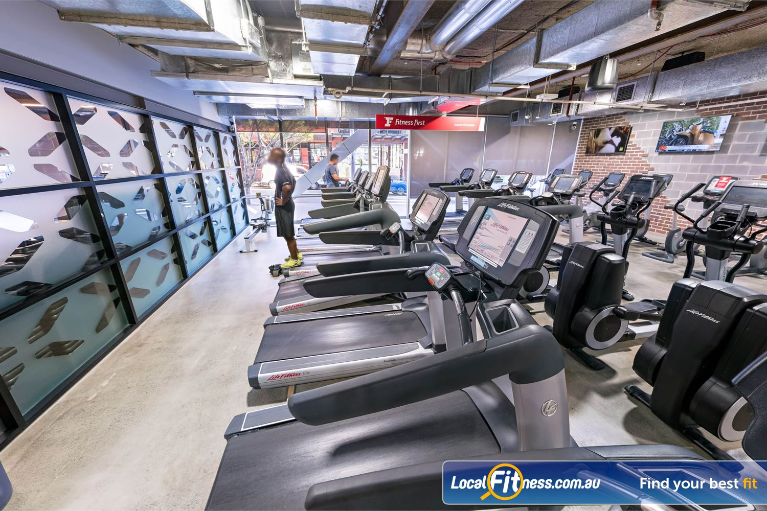 Fitness First Platinum Shelley St Sydney Rows and rows of state of the art Life Fitness cardio.