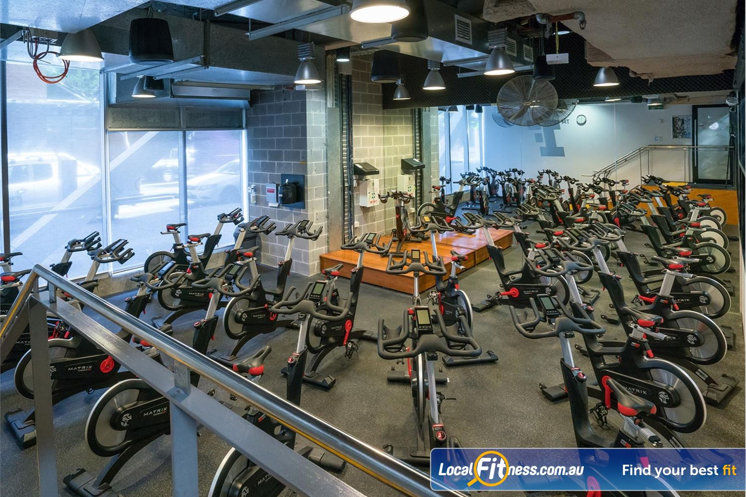 Fitness First Platinum Shelley St Sydney State of the art MATRIX bikes in our Sydney cycle studio.