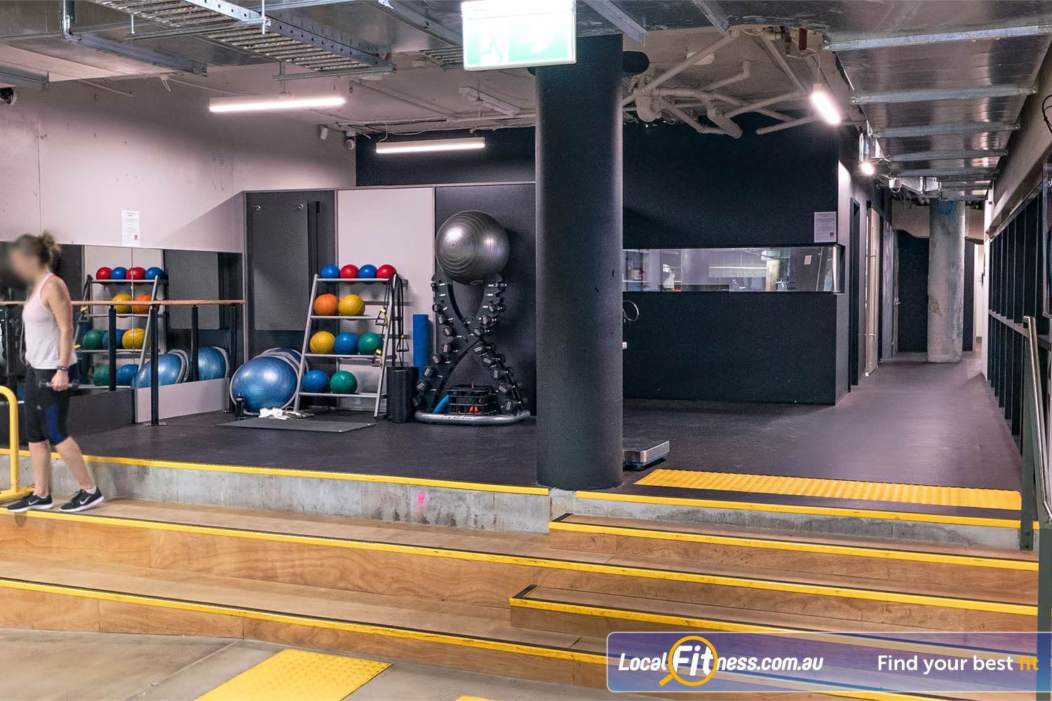 Fitness First Platinum Shelley St Near World Square Fully equipped abs and stretch area with fitballs, bosu balls and more.