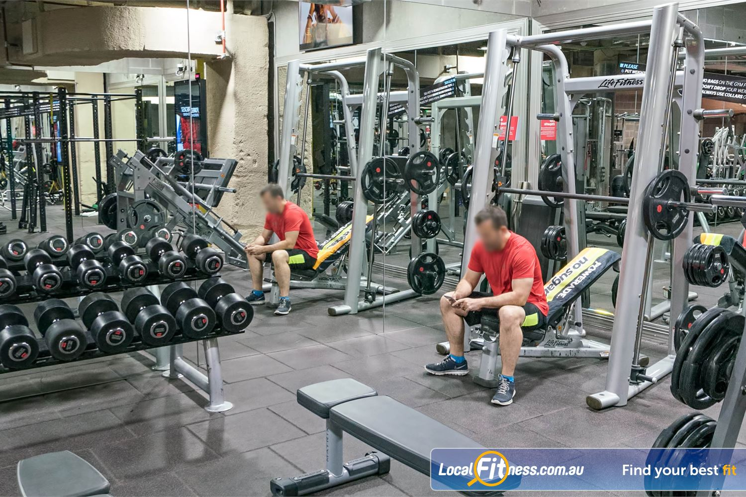 Fitness First Platinum Shelley St Near Strawberry Hills Fully equipped with a smith machine, dumbbell, benches and more.