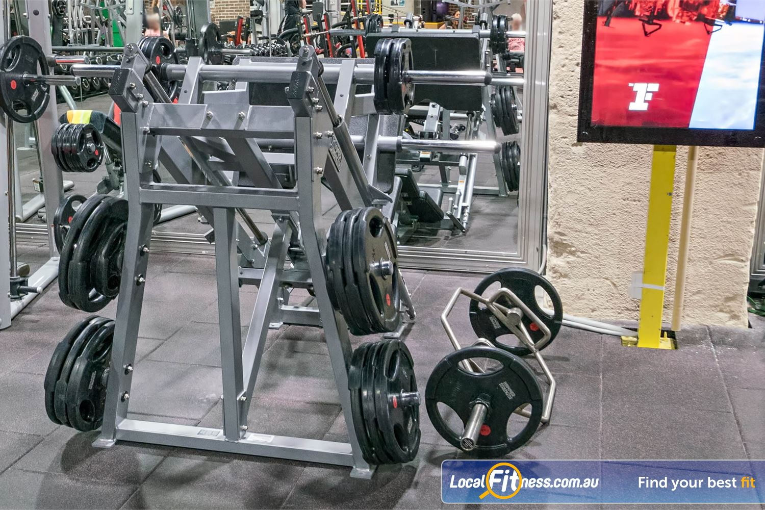 Fitness First Platinum Shelley St Near Strawberry Hills Heavy duty leg press machine with great range of weight plates.