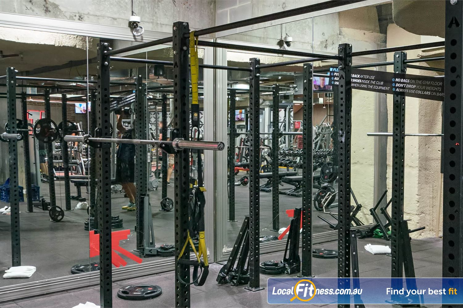 Fitness First Platinum Shelley St Sydney The high performance strength cage is great for squats, TRX training, shoulder presses and more.