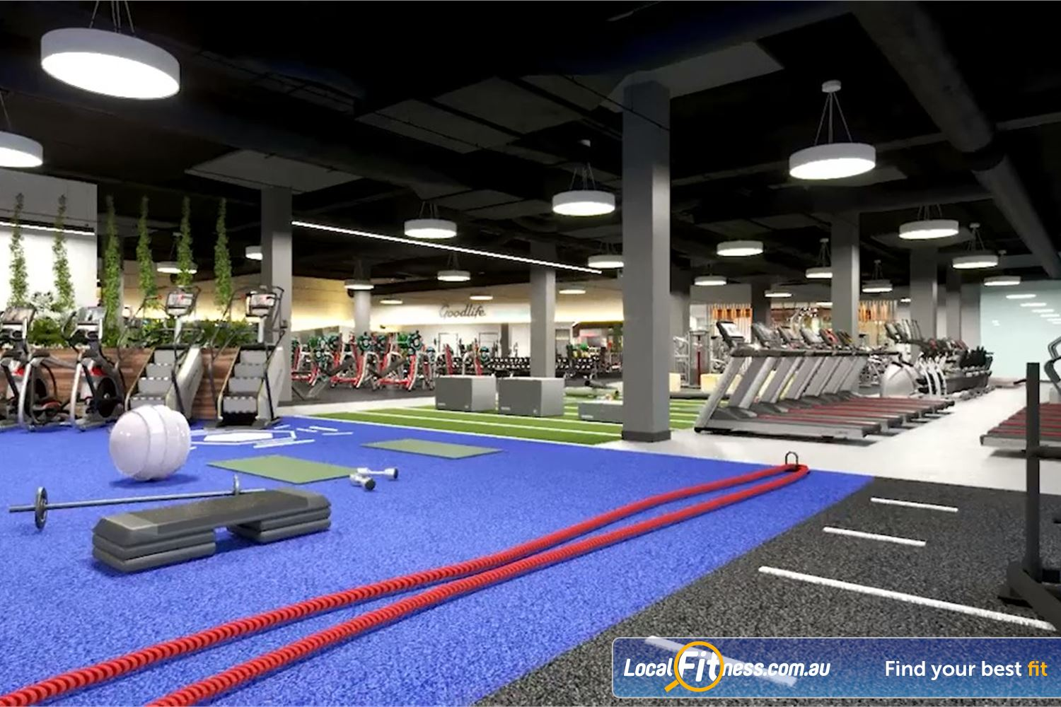 Goodlife Health Clubs Near Wilsonton Our Toowoomba gym includes a functional training space.