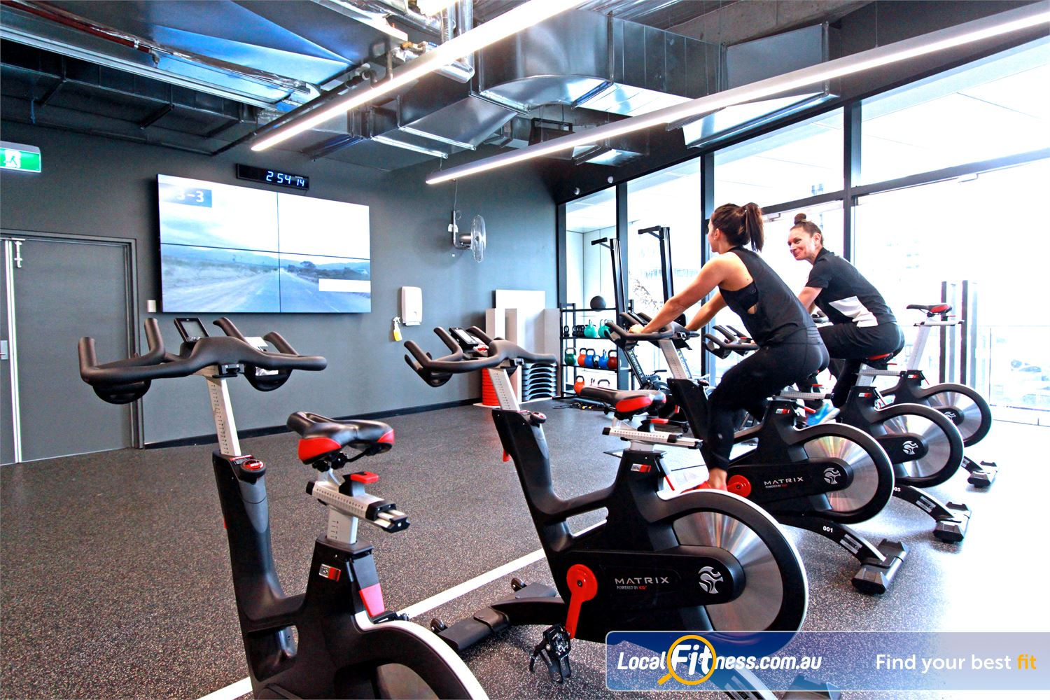 Goodlife Health Clubs Near North Melbourne State of the art cycle studio with giant screen to enhance your ride.