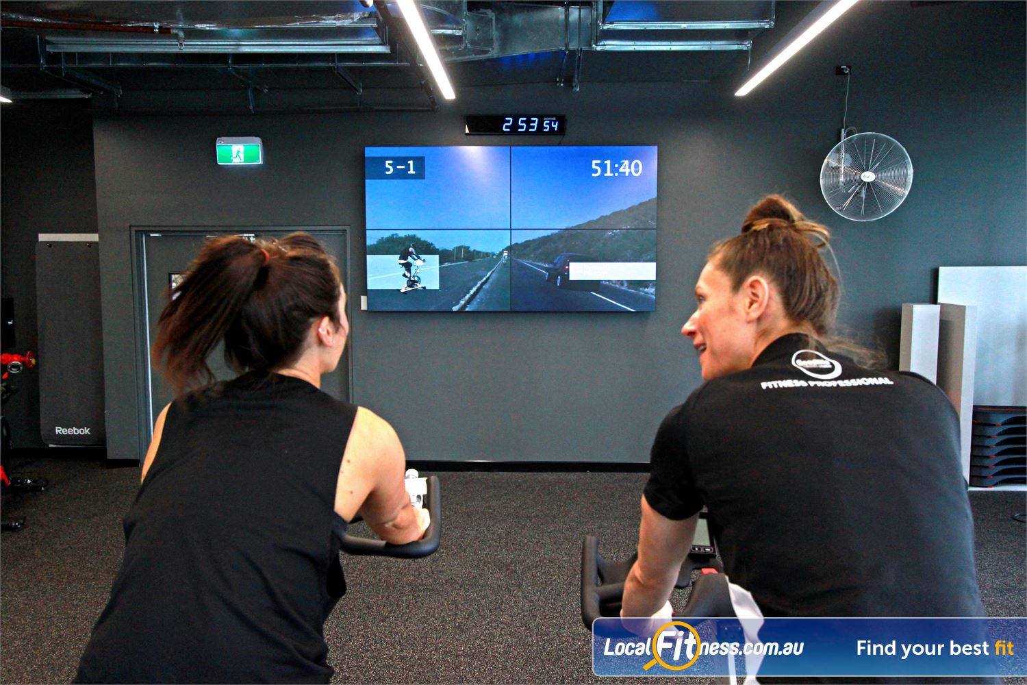 Goodlife Health Clubs Docklands Experience a high tech virtual class experience at Goodlife Docklands.