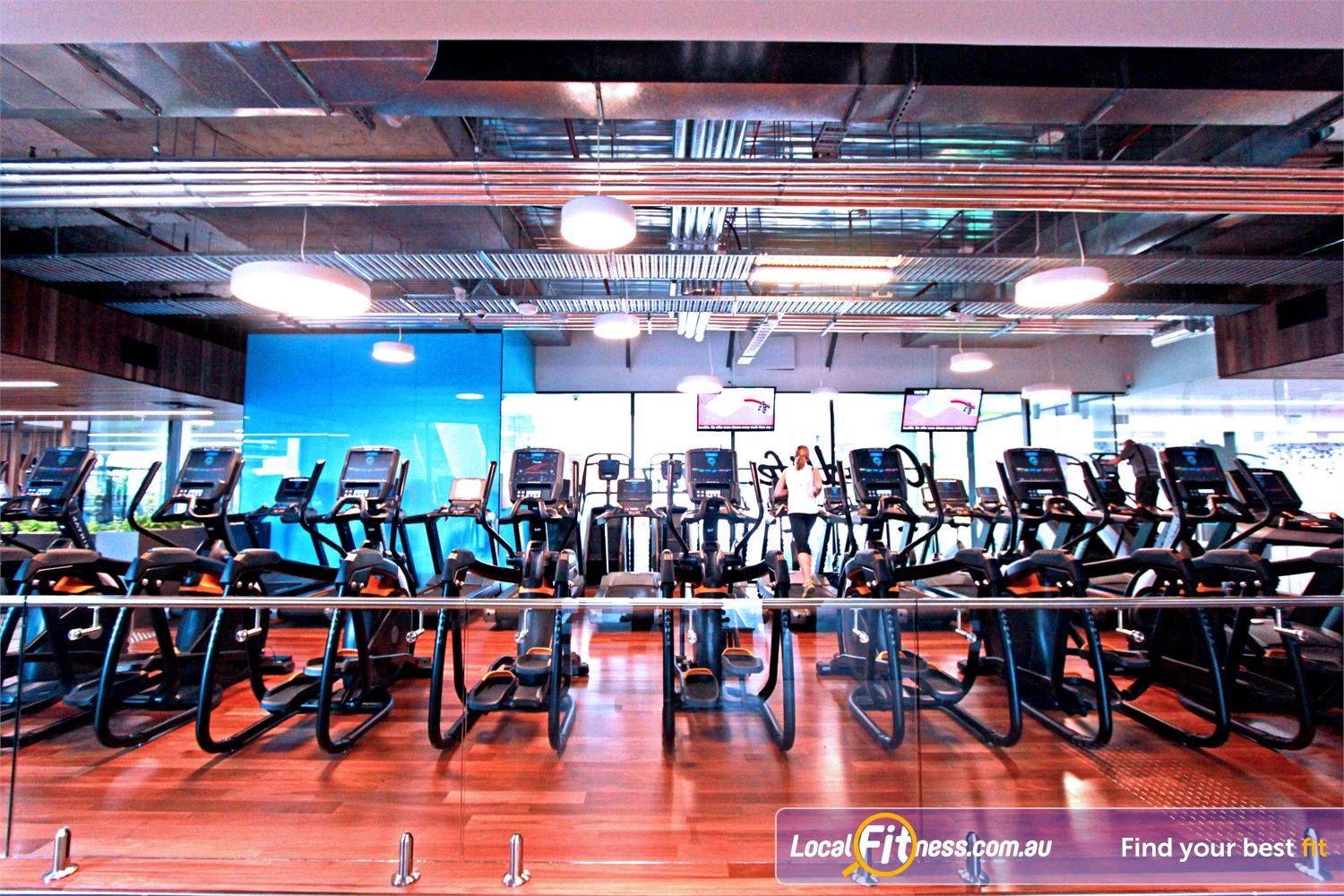 Goodlife Health Clubs Docklands Rows of treadmills, cross-trainers, steppers, cycle bikes and more.
