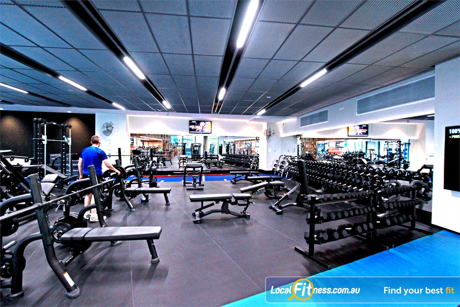 Goodlife Health Clubs Docklands The spacious free-weights area in our Docklands gym.