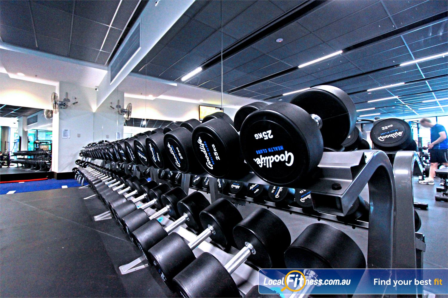 Goodlife Health Clubs Near North Melbourne Our Docklands gym includes a full range of dumbbells and barbells.