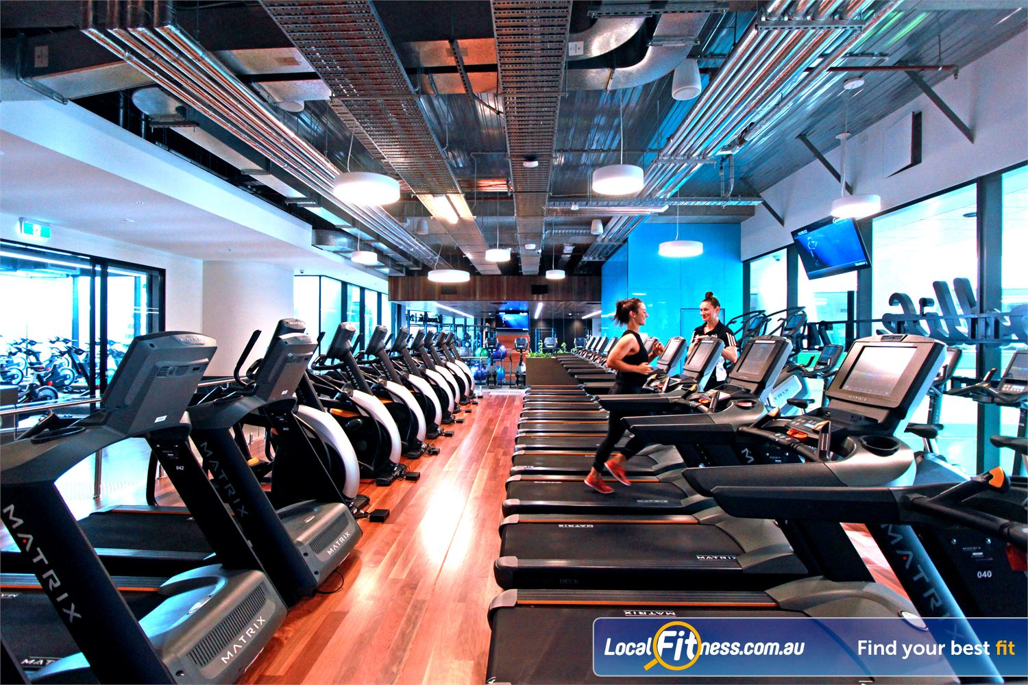 Goodlife Health Clubs Docklands Rows of cardio machines to pump up your cardio.