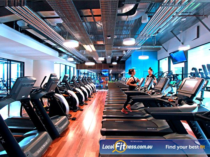 Goodlife Health Clubs Gym Docklands  | Rows of cardio machines to pump up your