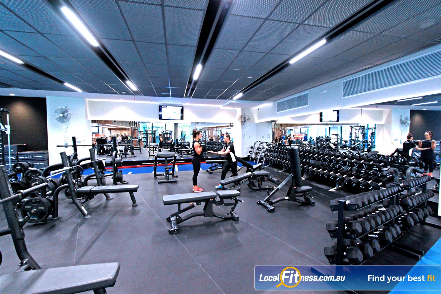 Goodlife Health Clubs Near North Melbourne The spacious free-weights area at Goodlife Dockalnds.