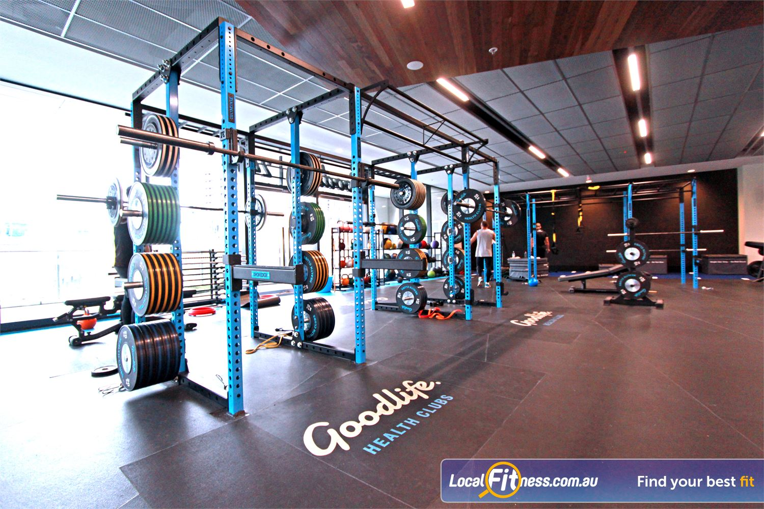 Goodlife Health Clubs Near North Melbourne Heavy duty Olympic platforms and bumper plates for serious strength training.