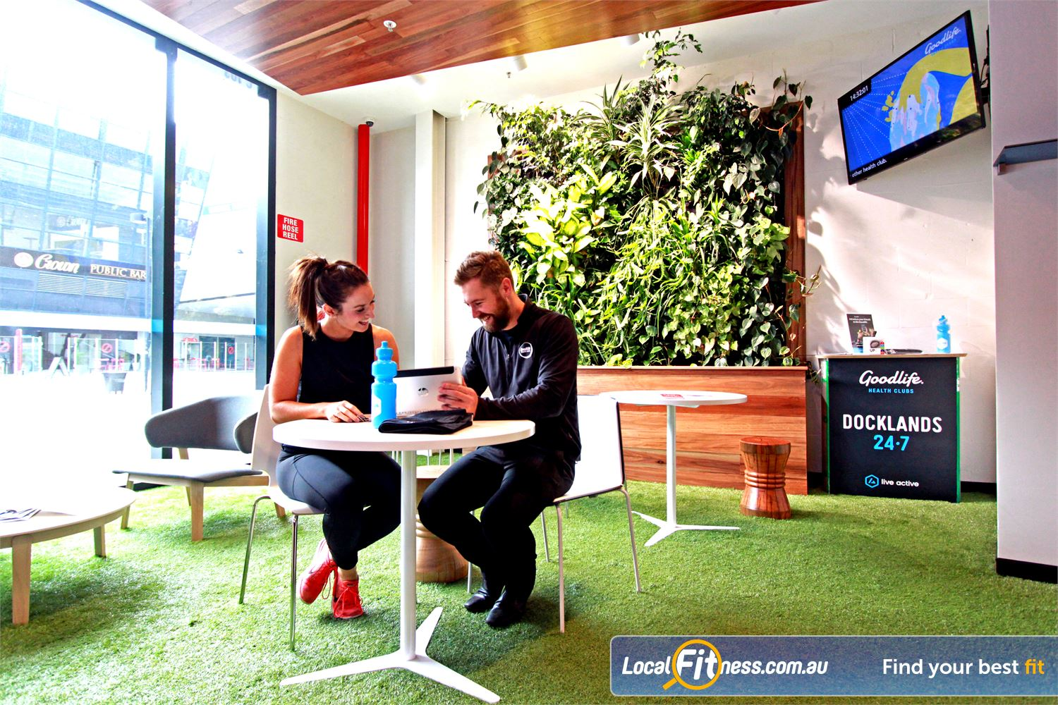 Goodlife Health Clubs Near Port Melbourne The luscious green members lounge.