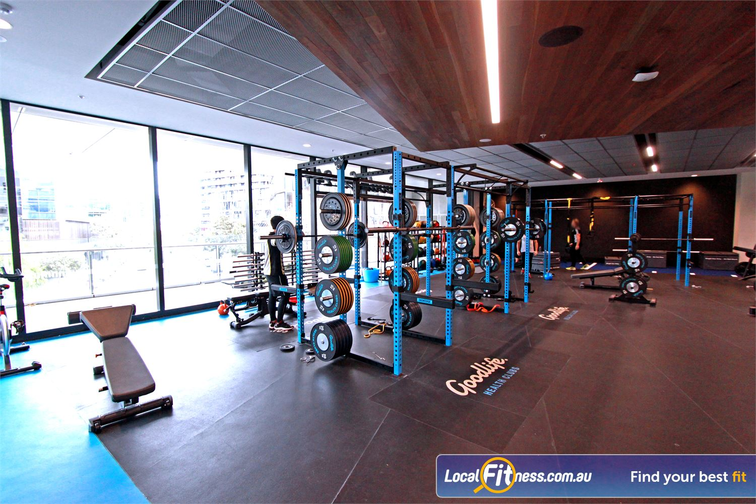 Goodlife Health Clubs Near South Melbourne Heavy duty Olympic platforms and bumper plates.