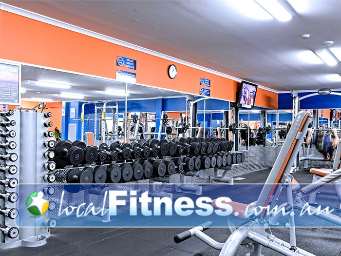 Plus Fitness 24/7 Gym Camden South  | Full range of dumbbells, barbells and benches.