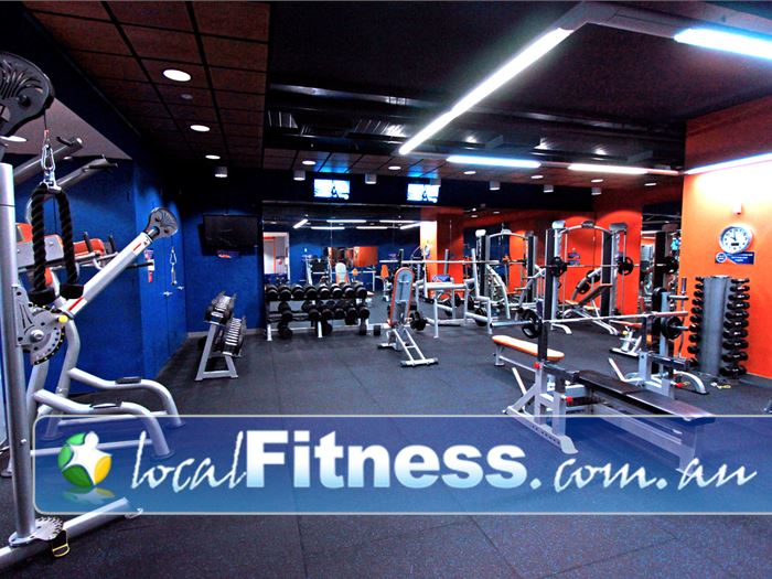 Plus Fitness 24/7 Flinders St Gym Melbourne    The fully equipped free-weights area.