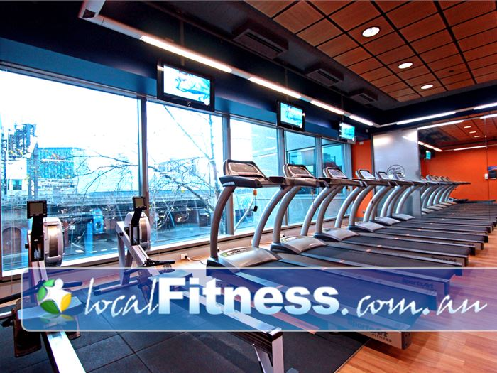 Plus Fitness 24/7 Flinders St Melbourne Gym Fitness Scenic views from our cardio