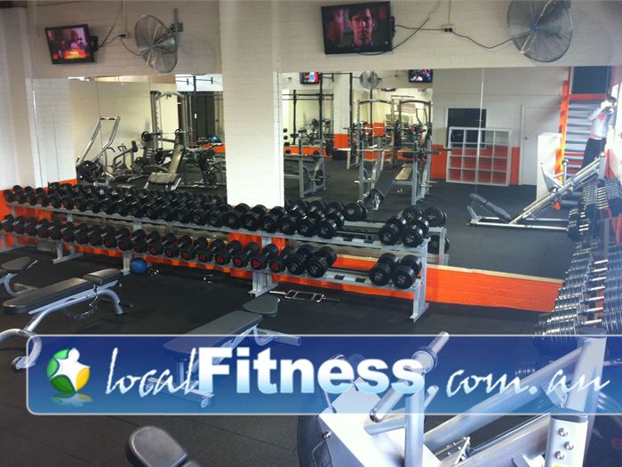 Bulleen Health and Fitness Bulleen Fully equipped free-weights area with dumbbells, benches, barbells and more.