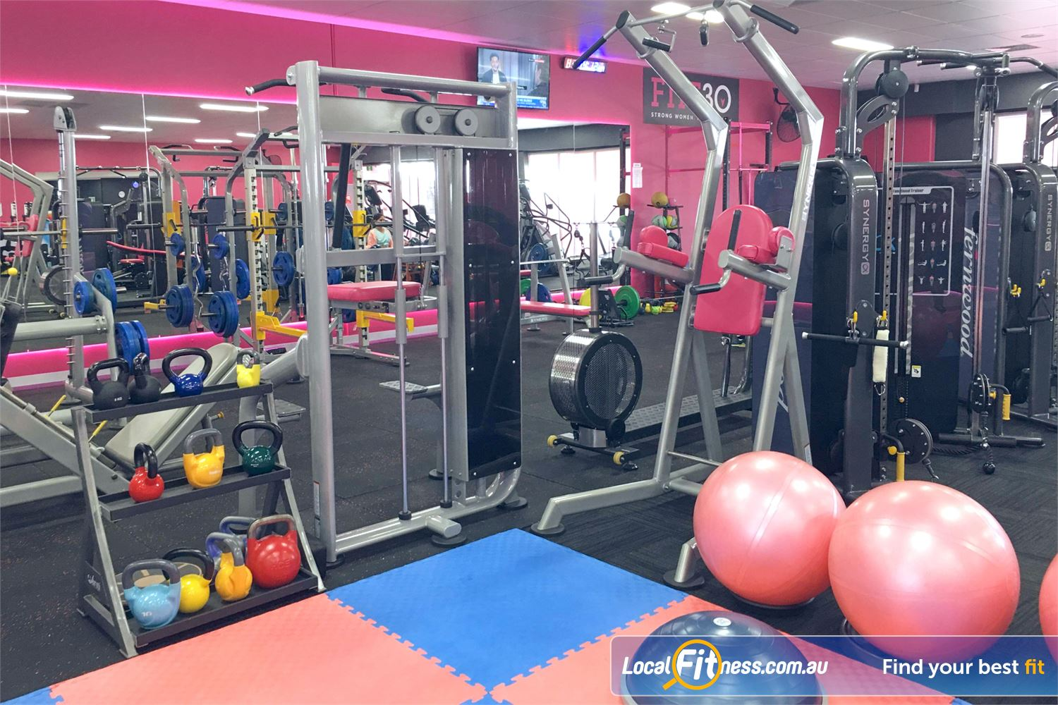 Fernwood Fitness Robina Our free-weights area in our Robina gym includes kettlebells and more.