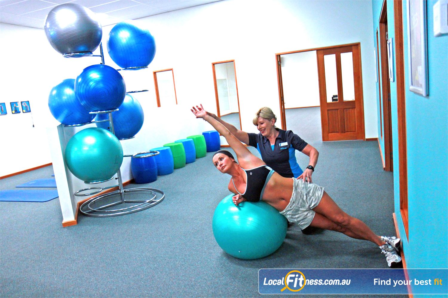 Fernwood Fitness Near Newtown Dedicated ab and stretching area.