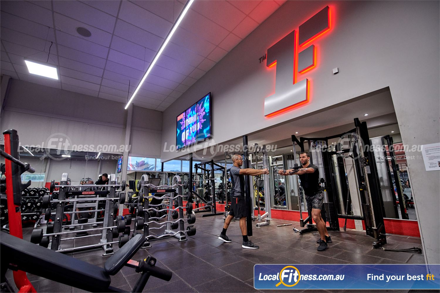 Fitness First Erina Fair Near Springfield Fully equipped free-weights area with barbells, dumbbells, benches and more.