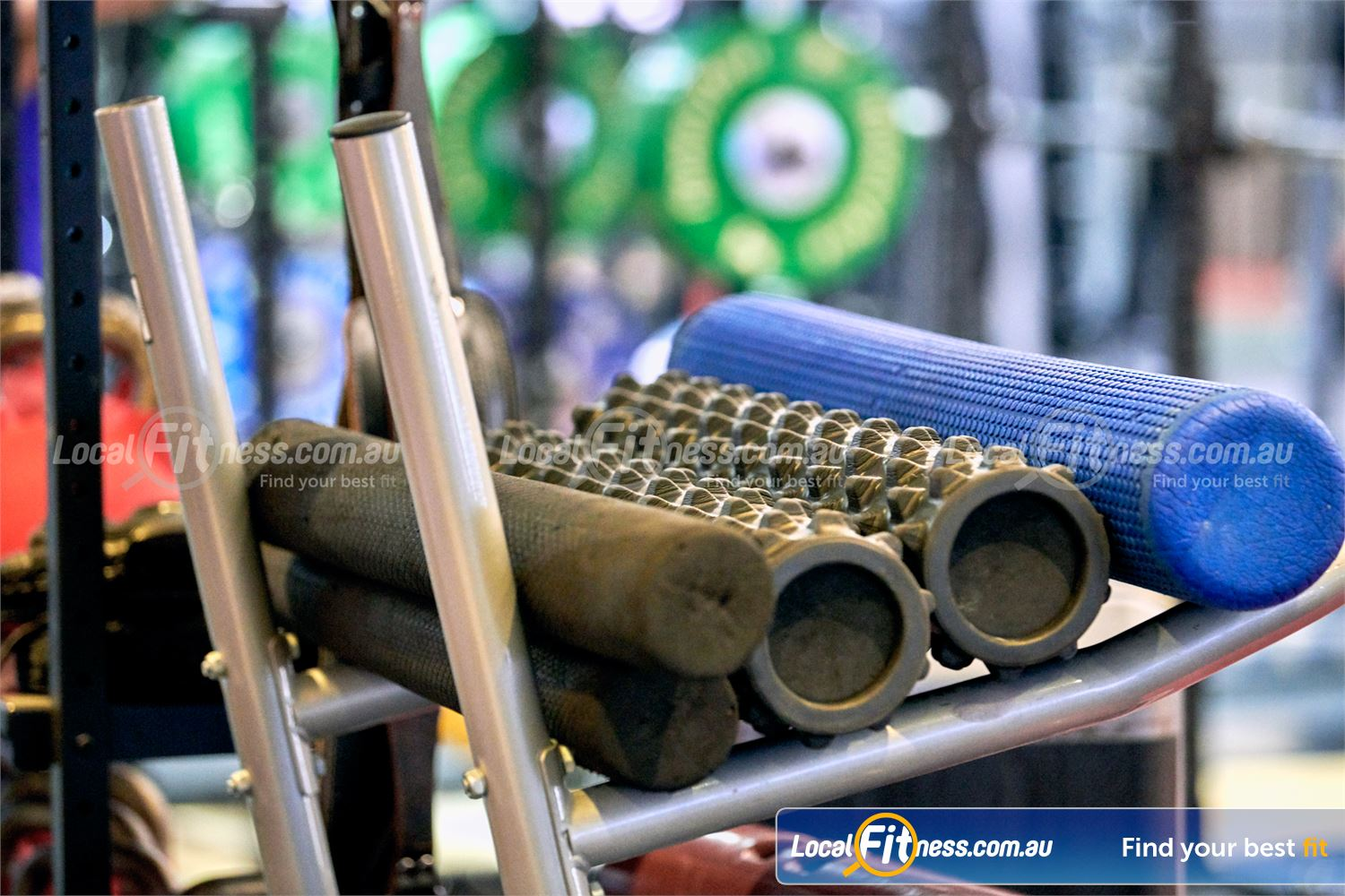 Fitness First Erina Fair Erina Fully equipped for abs and stretching with a range of foam rollers.