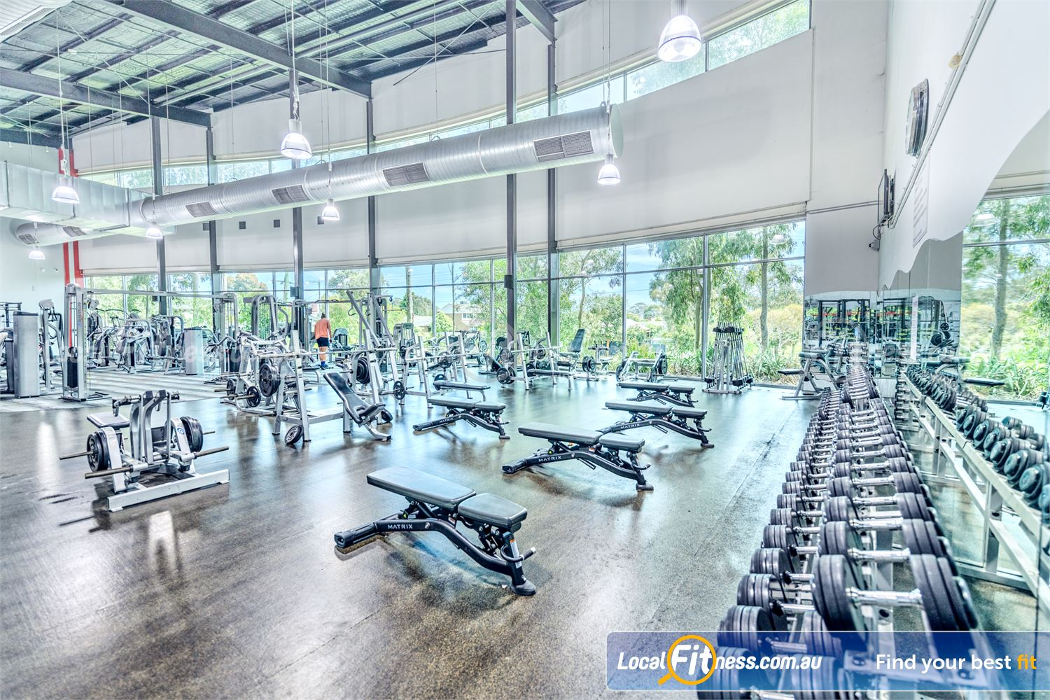 Goodlife Health Clubs Near Langwarrin Treescape views from our Karingal gym provide an indoor-outdoor feeling.