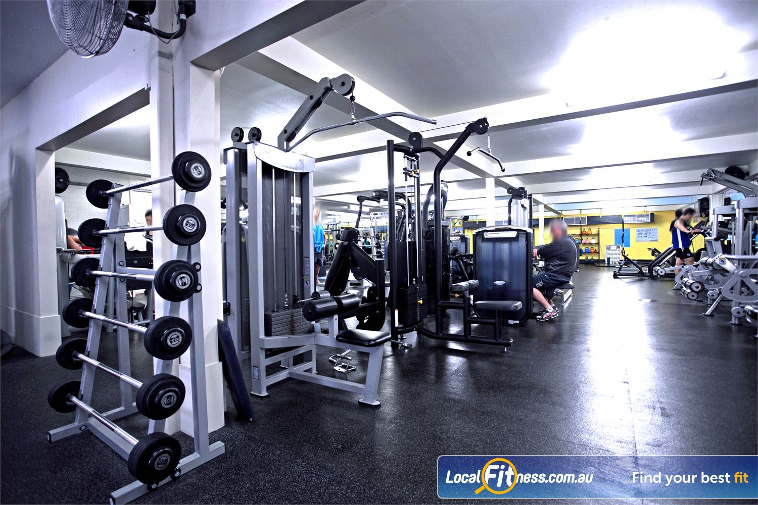 Goodlife Health Clubs Mitcham Kingswood The fully equipped Kingswood free-weights gym area.