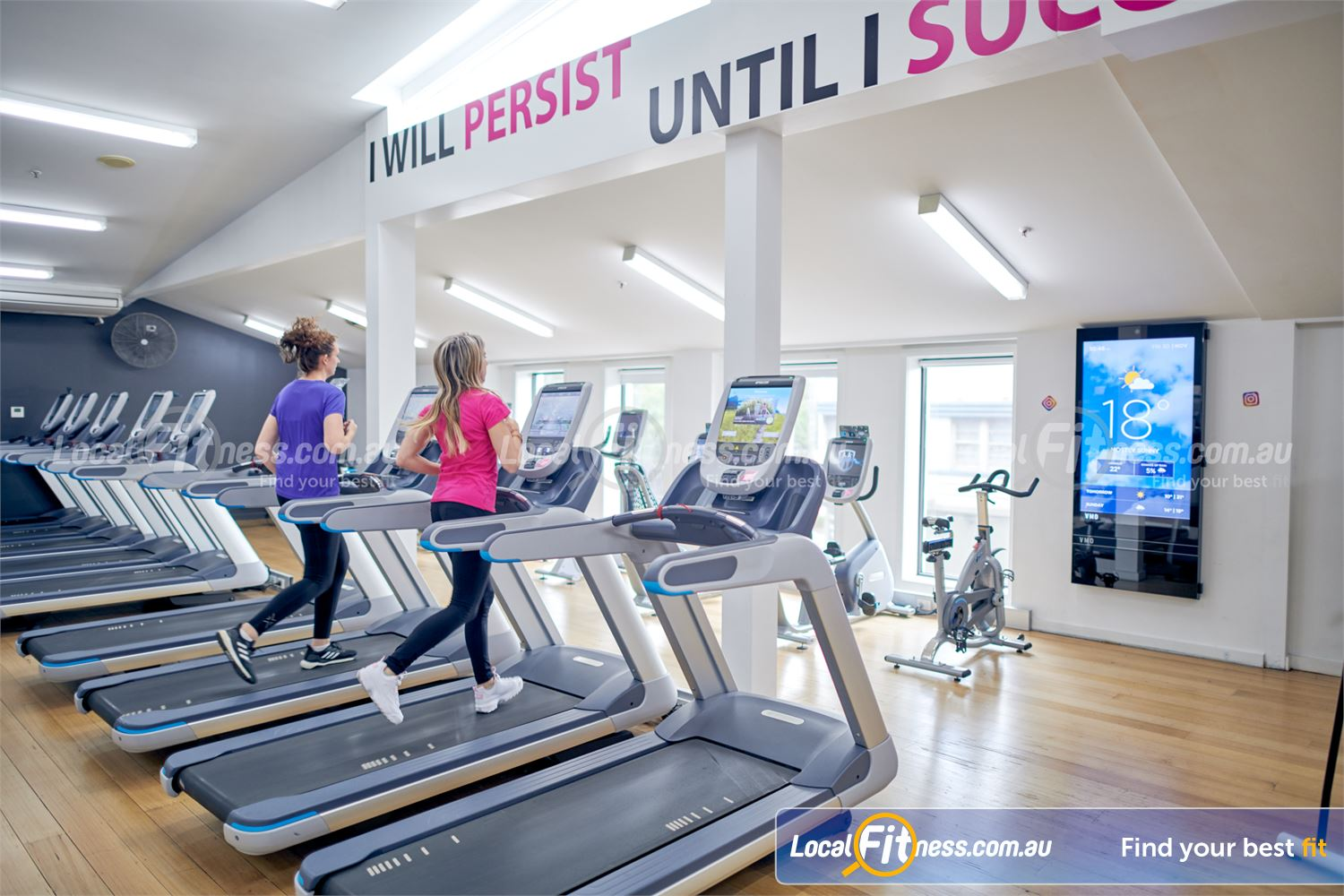 Fernwood Fitness Camberwell State of the art cardio with built-in personal entertainment screens.