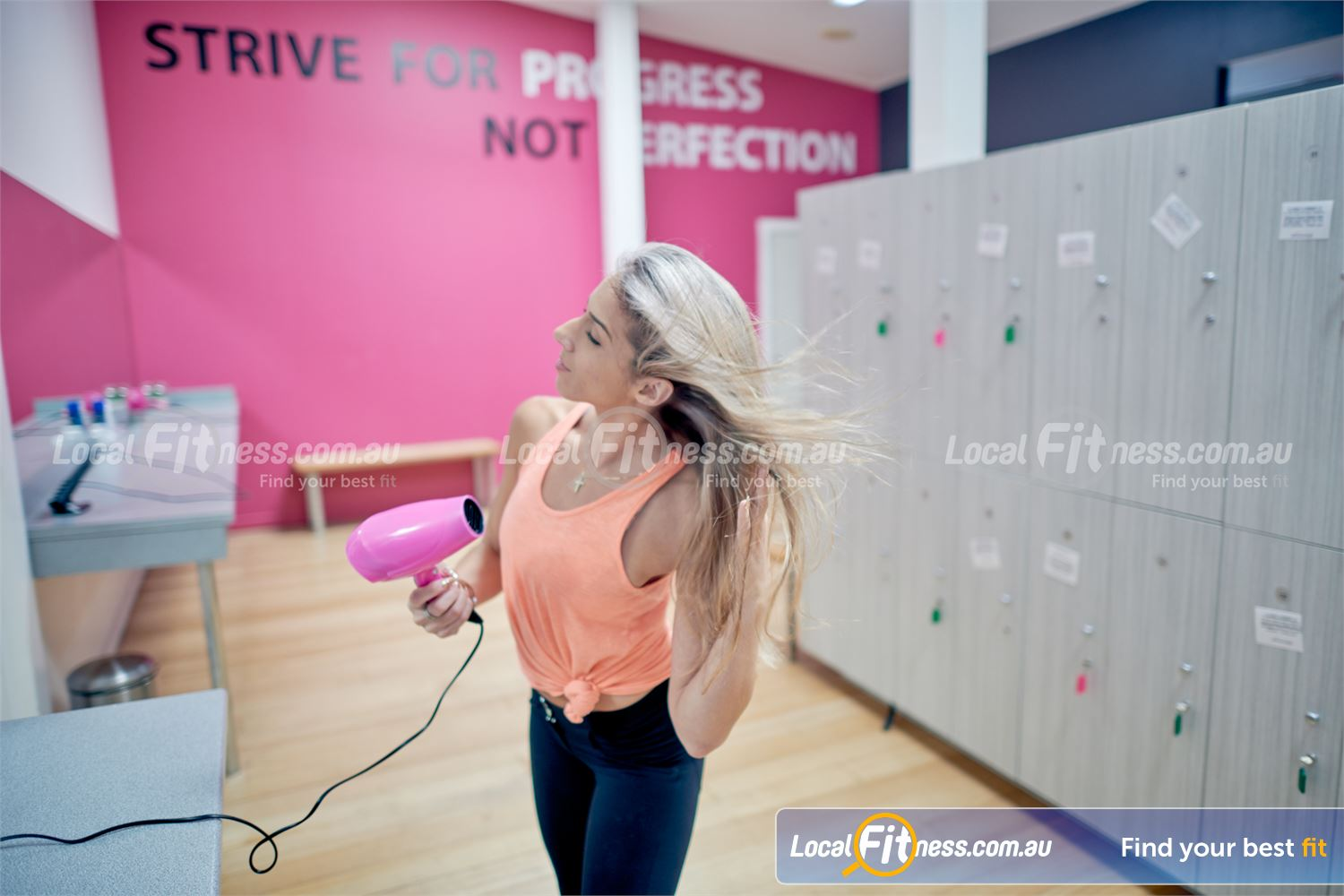Fernwood Fitness Near Ashburton Sparkling bathroom with complimentary hair dryers.