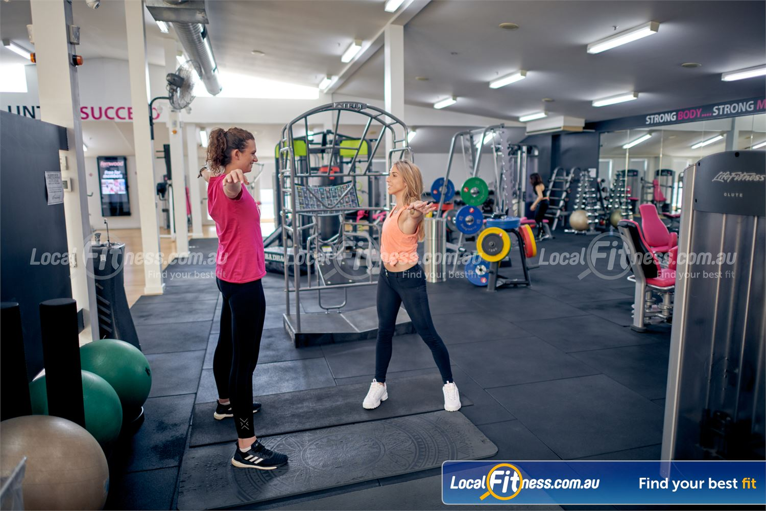 Fernwood Fitness Camberwell Fully equipped stretch area with stretching cage, mats, fitballs and more.