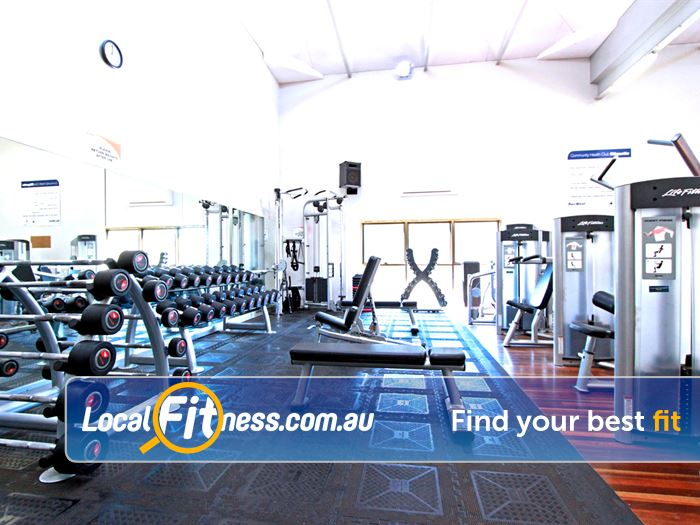 RecWest Footscray Our Footscray gym includes a comprehensive free-weight area.