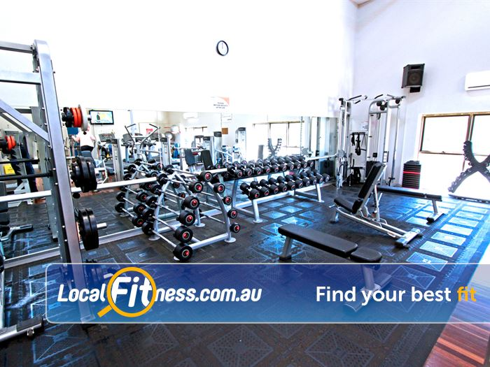 RecWest Footscray Our Footscray gym includes a comprehensive free-weights area.