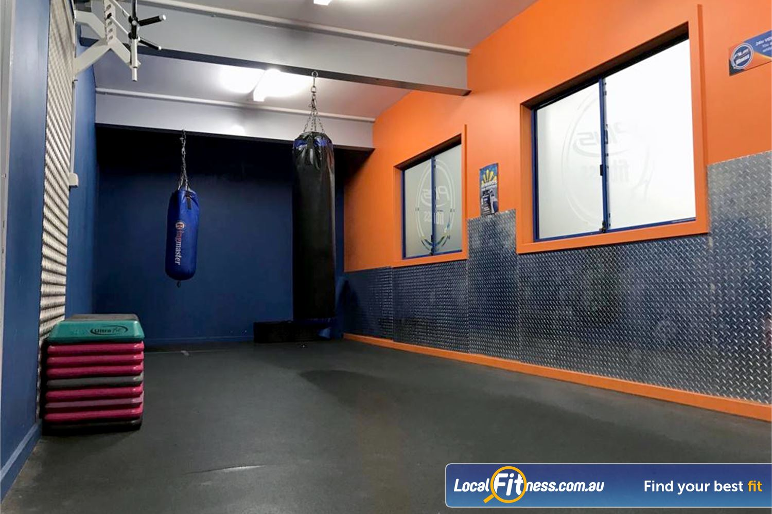 Plus Fitness Health Clubs Near Baulkham Hills Our Northmead gym a boxing area with heavy bags.