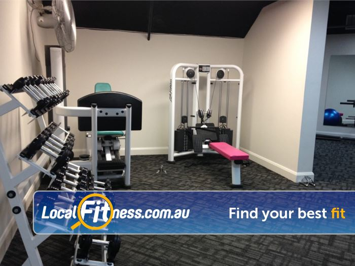 Fernwood Fitness Near Camperdown Fully equipped with dumbbells and easy to use pin-loading machines.
