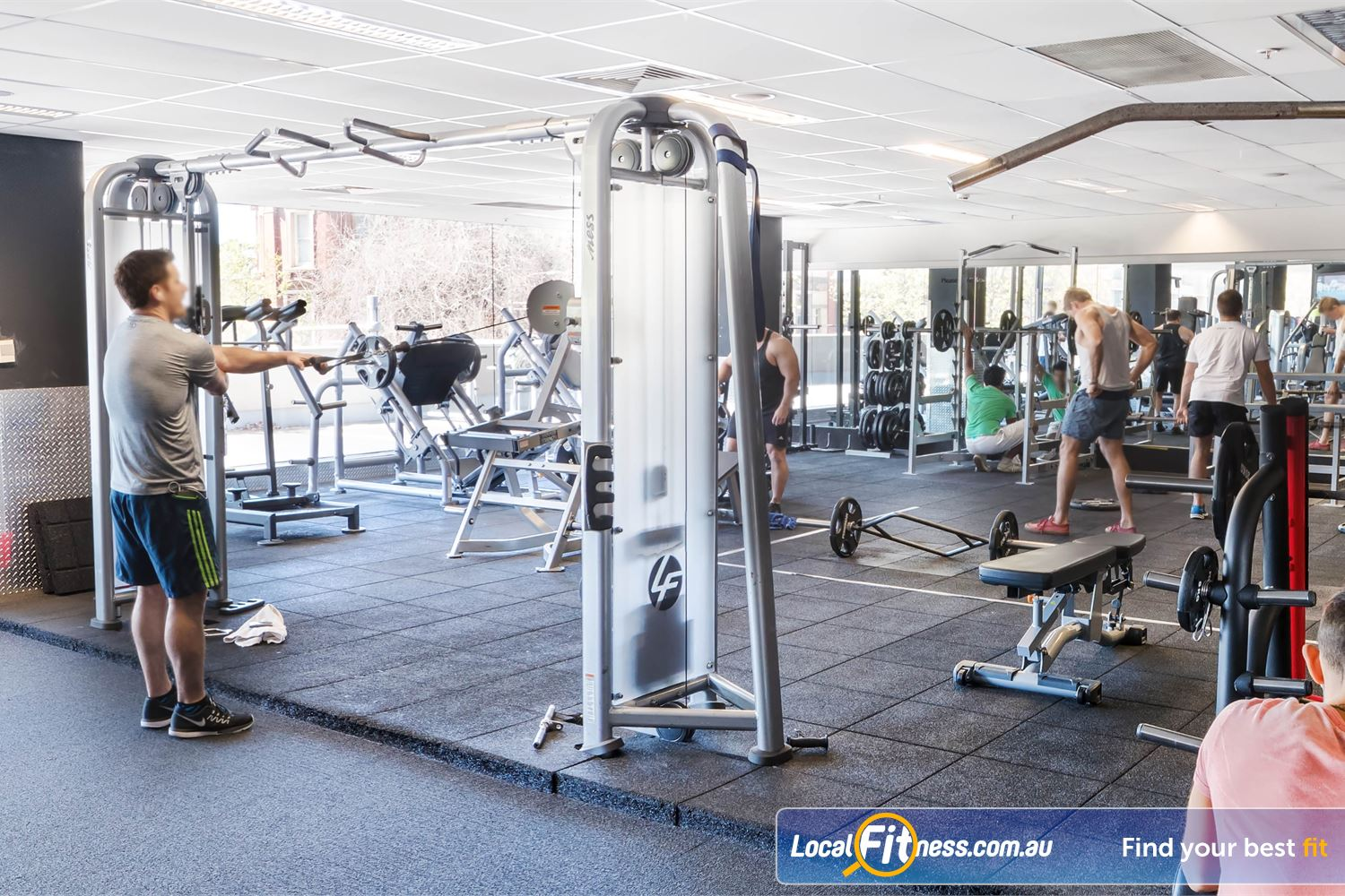 Fitness First Platinum Near Strawberry Hills The spacious gym floor at Fitness First Darlinghurst.