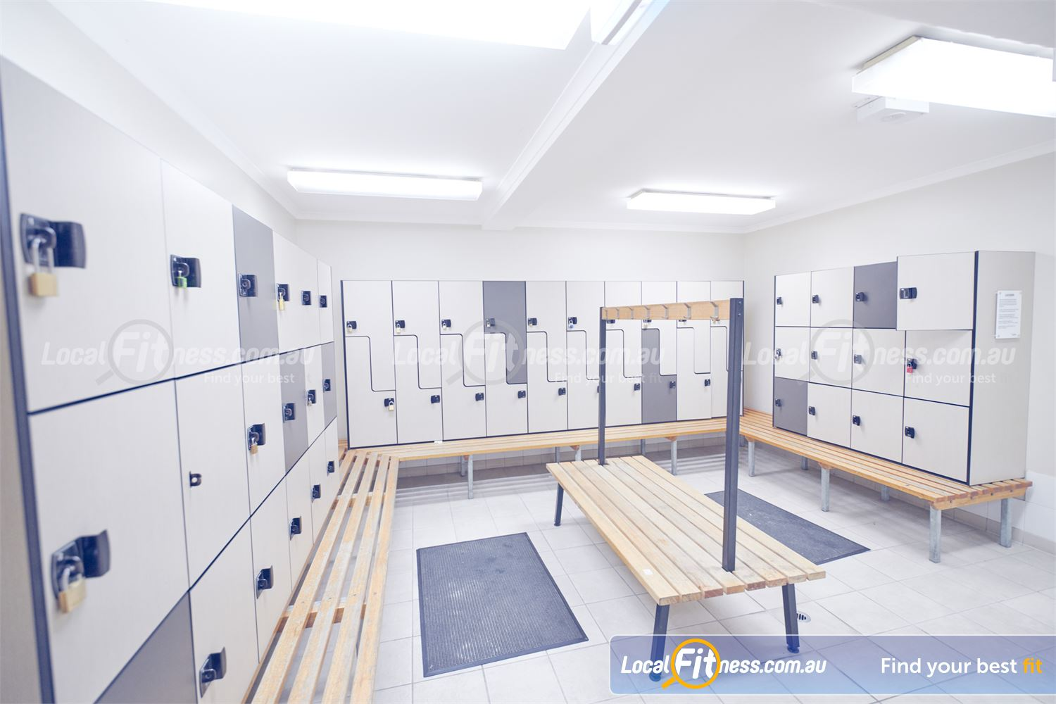 Goodlife Health Clubs Near Braeside Exclusive change rooms with spacious locker facilities.