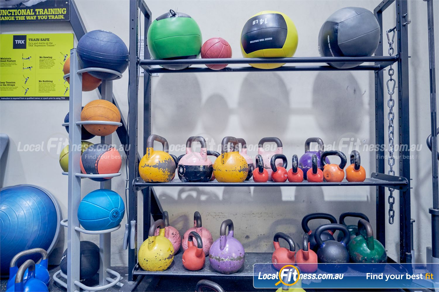 Goodlife Health Clubs Dingley Village Fully equipped with wall balls, kettlebells, bosu balls and more.
